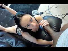Big eyes beauty sucks big cock in POV