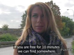 Beautiful Czech amateur bangs in public pov