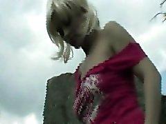 Teen blonde flashers outdoor