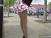 Wind Blowing A MILFs Skirt Around In Public