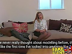 FakeAgentUK Amateur girl orgasms and squirts all over casting couch