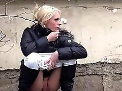 Amateur girls filmed pissing on the streets