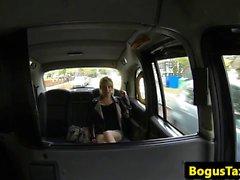 Amateur babe rims cabbie with pierced tongue