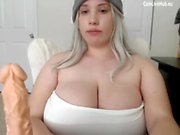 GIGANTIC BOOBS BBW TEEN CAM GIRL sucking a dildo pt2