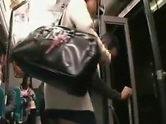 Nerdy schoolgirl with pigtails has a lustful guy caressing