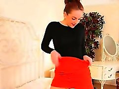 Redhead in super sexy stockings teasing