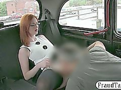 Enhanced tits amateur redhead whore nailed for cab fare