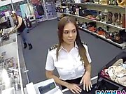 Smoking hot latina stewardess plowed in the pawnshop