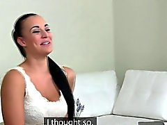 Casted lesbian strapon fucked after licking