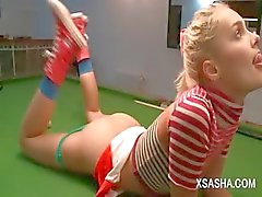 Cute russian doll Sasha masturbating on a pool table