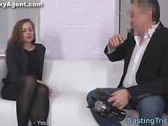 Petite amateur babe pussyfucked on the couch