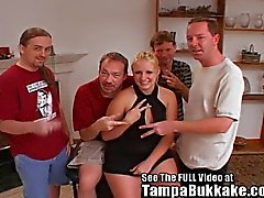 Thick Tampa Teen Wife Enjoys Her 1stTampa Bukkake Party!