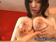 Busty japanese girl gets fucked by two