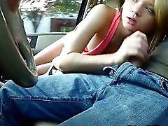Skinny teen fucking stranger in car as he records