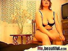 Hot fatty films herself while sex-toying