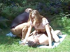 British MILF suck fuck in the wood