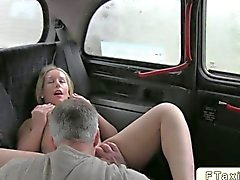Blonde babe fucked in a taxi