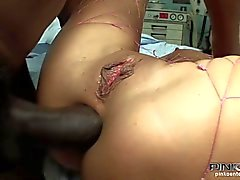 Brunette slut gets pounded by a black cock