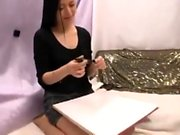 Sexy Asian babe giving a great handjob and blowjob