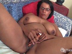 Busty Natalia Fingers Her Mocha Pussy