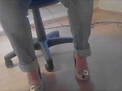candid heels feet under table long version ( virginie )