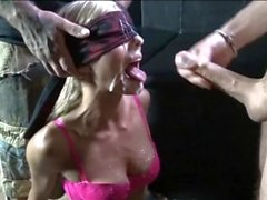 Blond wife gets bukkake in Danish sex club