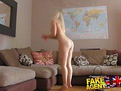 Fake Agent UK Blonde bombshell swallows agents spunk