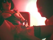 Smoking Tara and the red sofa