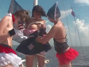 Hot pirate girls enjoy pleasuring each other's vaginas