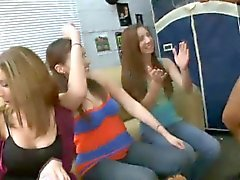 Horny College girls stroking big dicks