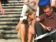Chick On The Stairs Upskirt