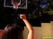 Basketball girlfriend assfucks before cumshot