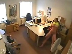 Spycam captured the office being fucked in by them