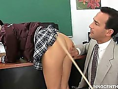 Pretty brunette girl getting spanked then fucked by her