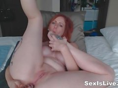 Gothic tattooed redhead like anal and licking foots