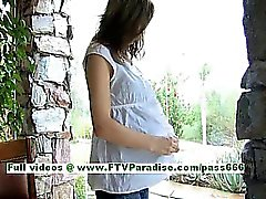 Wendy brunette pregnant girl getting naked and playing