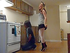 Ballbusting - Teen in Miniskirt Knees Balls