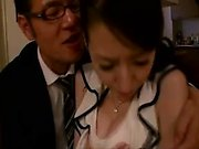 Sultry Japanese wife has a nerdy guy gently fingering her h