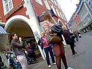Hot German Teen Shorts Stocking at Bus Stop Ass Legs