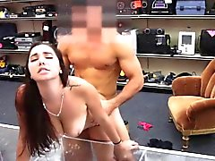 College bitch gets pounded hardcore style in the pawnshop