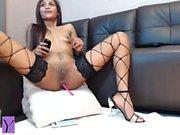 Beautiful latin babe toying her horny pussy