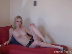 blonde seduces you on your love seat