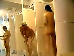 group naked females caught in public shower room
