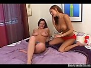 Big tit lesbian amateurs play with toys in bed