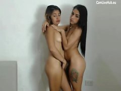 two babes take turns blowing big dick webcam p1