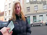 Blonde girl blows a dick for some cash