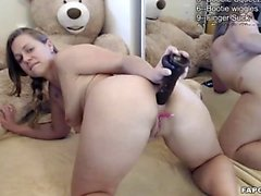 Flirtatious Amateur Brunette Assfucks Dildo On Cam