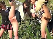 Crazy schoolgirls are outside peeing on anything they can l