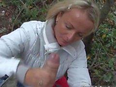 Naughty blonde Czech girl sucking dick