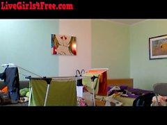 Latina Webcam Milf Folding Laundry
